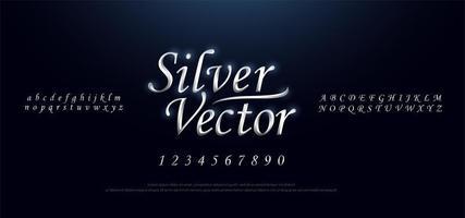 Elegant silver metal chrome script font set vector