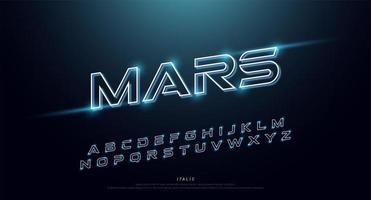 Technology glowing italic neon font vector
