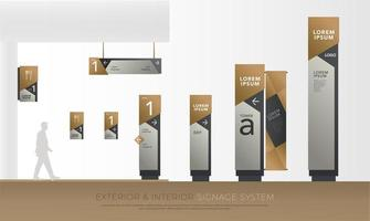 Exterior and interior brown and silver signage set vector