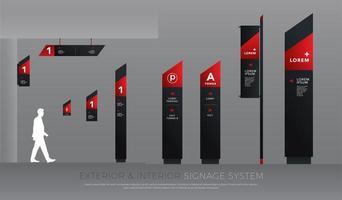 Conjunto de señalización exterior e interior en ángulo rojo y negro.