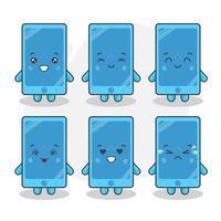 lindos personajes telefónicos con varias expresiones vector