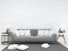 cojines blancos minimalistas del sofá gris foto