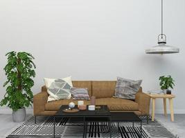 Minimal style living room concept design and plant
