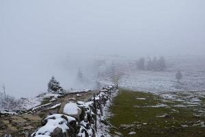 Foggy landscape at the Creux du Van