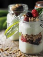 Close up view of a yogurt parfait