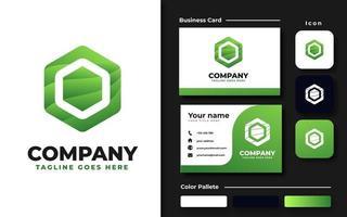 Green Hexagon Branding Set vector