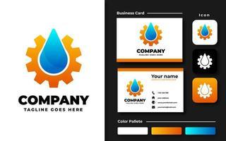 Water Drop and Gear Branding Set vector
