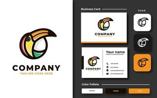 Colorful Circle Toucan Branding Set vector