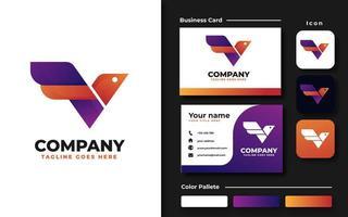 Bird with Initial V Branding Set vector