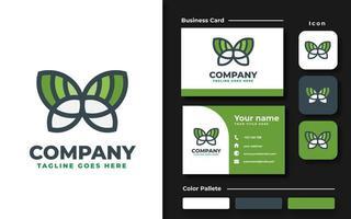 Flat Green Butterfly Branding Set