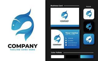 Blue Fish Branding Set vector