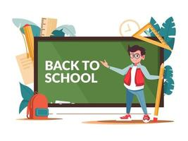 Back to School Chalkboard, Boy and Supplies vector