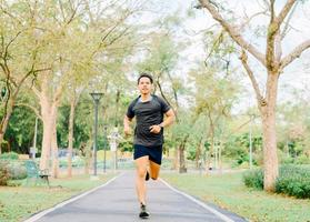 Healthy Asian man running