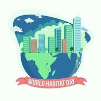 World Habitat Day Design with City in Planet vector