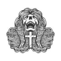 cráneo, rezando, manos, con, cruz vector