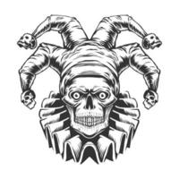 vista frontal del cráneo joker vector