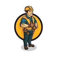 Cartoon contractor character vector