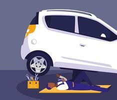 oficina de manutenção para um carro vetor