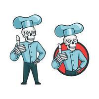 caricatura, retro, vendimia, cráneo, chef, carácter vector