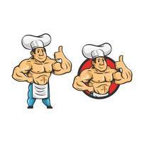 Cartoon retro vintage bodybuilder chef character  vector