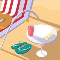 silla de playa, mesa y jugo