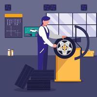 mecánico de automóviles reparando una rueda vector