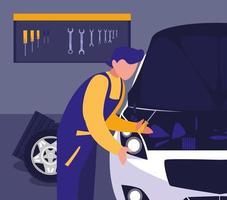 taller de mantenimiento para un coche vector