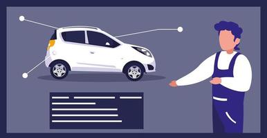 cartel de un coche y un mecánico. vector