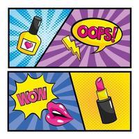 Set of pop-art comic strips