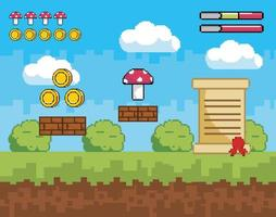 Pixel-art scene with coins and mushroom