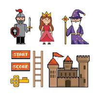 Pixel-art fantasy video game icon set vector