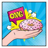 Pop-art style hand holding a donut