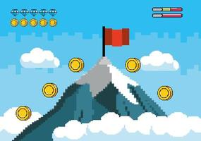 Snowy mountain with a red flag and coins pixel-art
