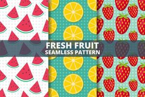 Fresh fruit seamless pattern set