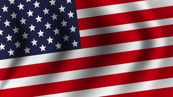 Realistic American flag waving vector