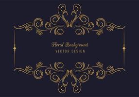 elegante marco rectangular floral dorado decorativo vector