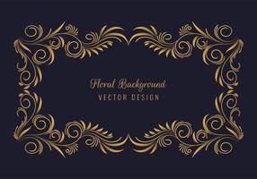 elegante marco decorativo dorado floral vector