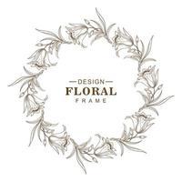 Abstract circular sketch flower frame design