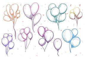Hand drawn colorful balloons mega set vector