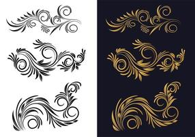 Ornamental creative black and gold floral decorative set vector