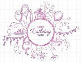 Pink sketch doodle Happy birthday card design vector