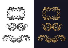 Beautiful floral ornament set in gold and black vector