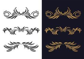 Elegant decorative ornamental floral decorative set design vector