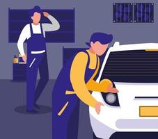 mantenimiento de un taller de vehículos vector