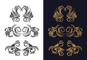 elegante decoratieve zwart en goud sier bloemenset