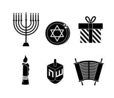 Set of Jewish and Hanukkah celebration icons
