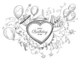 Beautiful happy birthday hand drawn heart doodles vector