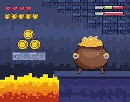 Videogame, pixel-art cauldron pot with gold coins