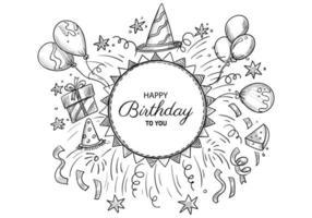 Beautiful happy birthday sketch celebration design vector