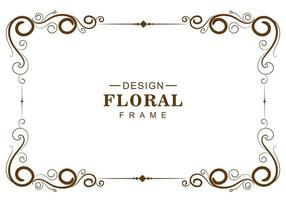 Ornamental decorative brown floral frame vector